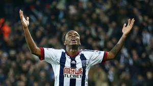 West Brom's Saido Berahino celebrates scoring his side's third goal against Crystal Palace