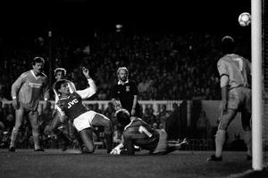 Alan Smith, centre left, scores Arsenal's second goal in the 3-0 win over Bournemouth in October 1987 (PA)