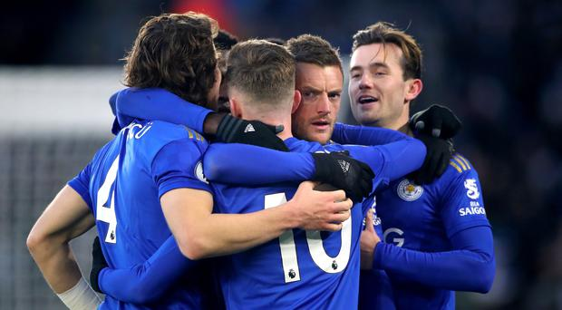 Leicester celebrate their leveller against Norwich (Nick Potts/PA).