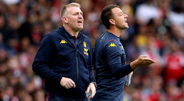 Aston Villa manager Dean Smith, left, feels assistant head coach John Terry has been an inspiration to his players (Steve Paston/PA)