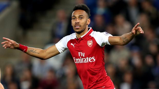 Pierre-Emerick Aubameyang scored his 10th Premier League goal for Arsenal on Sunday