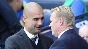 Manchester City manager Pep Guardiola, left, and Everton manager Ronald Koeman, right, are good friends from their Barcelona days
