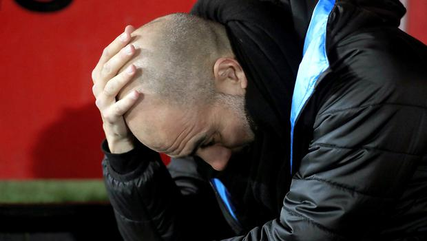 Pep Guardiola is puzzled by Manchester City's failure to score in their last two games (Mike Egerton/PA)