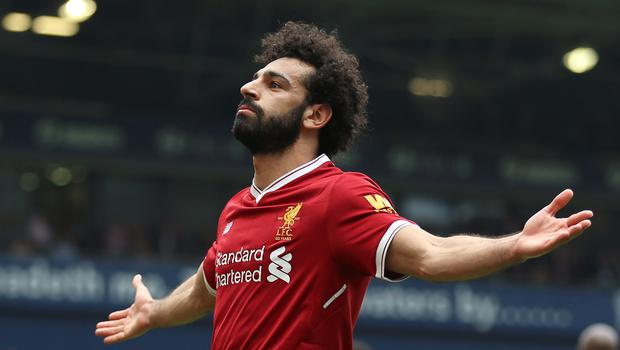 Liverpool's Mohamed Salah is a happy man