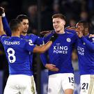 Harvey Barnes (second, right) celebrates scoring Leicester's opener in the 4-1 defeat of West Ham on Wednesday night. (Tim Goode/PA)