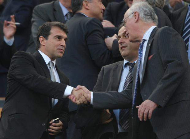 Joan Laporta (left) is running to be Barcelona president once again. (Nick Potts/PA)