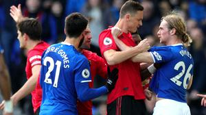 Tempers flare between Everton's Tom Davies (right) and Manchester United's Nemanja Matic during the Premier League match at Goodison Park, Liverpool.