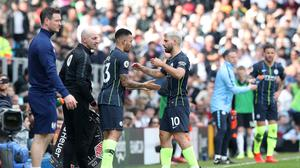 Sergio Aguero (right) asked to be withdrawn at Craven Cottage (Jonathan Brady/PA)
