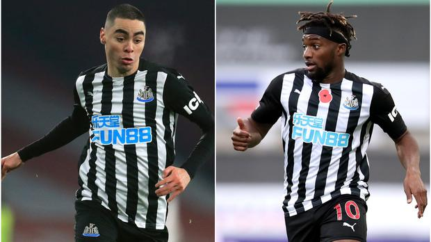 Newcastle's Miguel Almiron, left, and Allan Saint-Maximin have been ruled out until April (Adam Davy/Alex Pantling/PA)