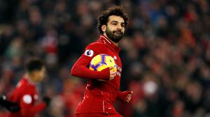 Liverpool's Mohamed Salah was having a ball as he hit two goals.
