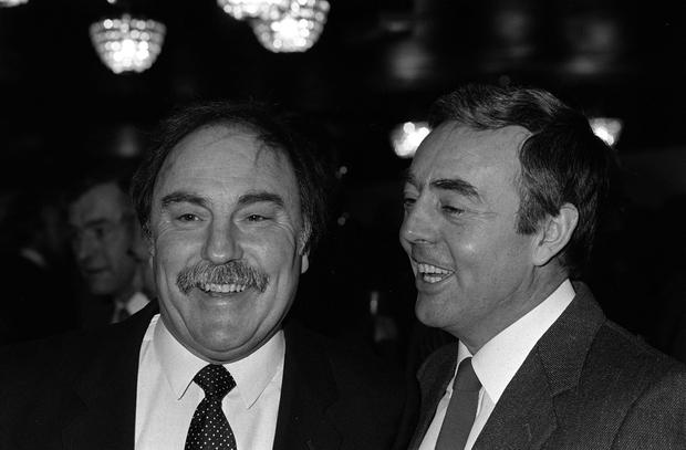 St John, right, linked up with Jimmy Greaves to form a memorable TV partnership after his playing career ended (PA)
