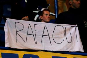 (FILE PHOTO) Chelsea FC manager Rafael Benitez has confirmed his exit at the end of the season in his post-match interview following the FA Cup match against Middlesbrough LONDON, ENGLAND - DECEMBER 05:  Chelsea fans protest at the appointment of Rafael Benitez as Chelsea manager during the UEFA Champions League group E match between Chelsea and FC Nordsjaelland at Stamford Bridge on December 5, 2012 in London, England.  (Photo by Clive Rose/Getty Images)