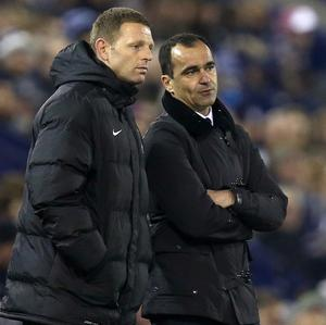 Roberto Martinez, right, insists Graeme Jones, left, remains committed to Everton