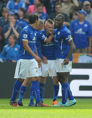 Jamie Vardy (second right) celebrates his first Premier League goal (Nigel French/PA)