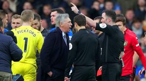 Everton manager Carlo Ancelotti will not face a touchline ban for his red card against Manchester United last weekend (Peter Byrne/PA)
