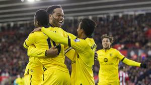 Aston Villa's Joleon Lescott, centre, scored the opening goal at Southampton