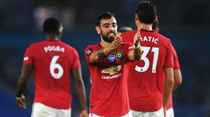 Manchester United's Bruno Fernandes celebrates in the win over Brighton (Mike Hewitt/NMC Pool/PA).