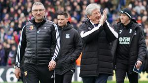 Crystal Palace manager Roy Hodgson, right, signed a new one-year deal on Friday (John Walton/PA)