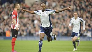 West Brom's Saido Berahino celebrates his winner in the 1-0 victory over Southampton.