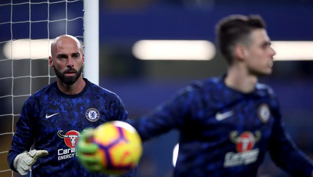 Willy Caballero, left, replaced Kepa Arrizabalaga in goal against Leicester (Nick Potts/PA)