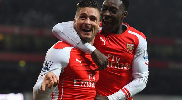 On fire: Olivier Giroud celebrates his goal with Danny Welbeck