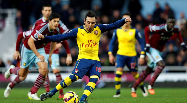 Penalty opener: Santi Cazorla scores Arsenal's first goal