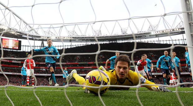 Net loss: Asmir Begovic of Stoke City fails to stop an Alexis Sanchez strike crossing the line