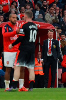 Amazed: A dejected Louis van Gaal after the 3-0 loss to Arsenal
