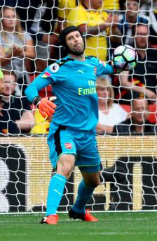 Up and running: Petr Cech was in goal as Arsenal won 3-1