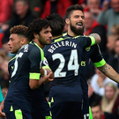 Double: Olivier Giroud after scoring first of brace at weekend