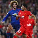 All hype: Marouane Fellaini and Pool's Emre Can during the drab scoreless draw