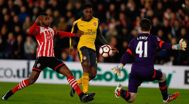 At the double: Danny Welbeck scores his first against the Saints