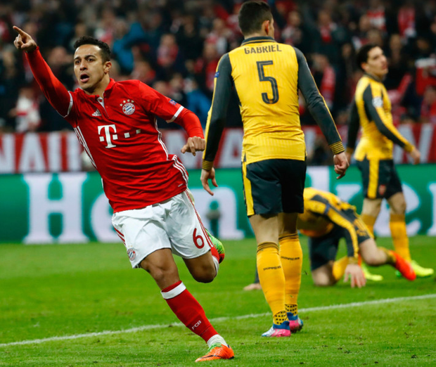 Easy street: Thiago scores his second, Bayern's fourth, in Arsenal's latest European flop