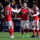 Lucs good: Lucas Perez is hailed after netting Arsenal's opening goal