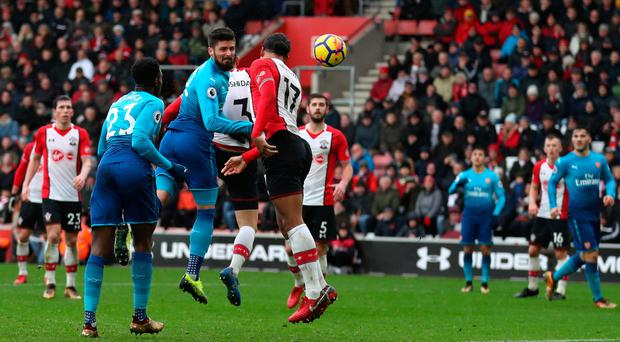 Late show: Olivier Giroud headers home the equaliser for Arsenal