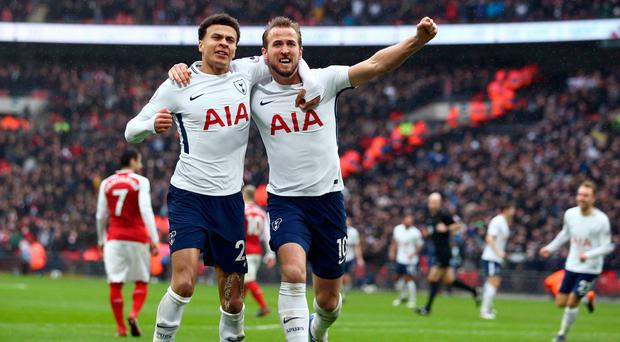 Hot Spurs: Harry Kane (right) and Dele Alli in celebration
