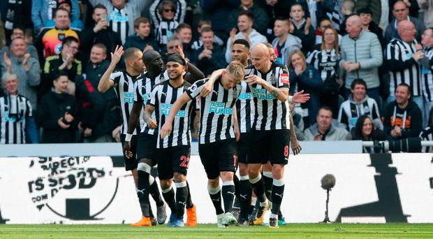 Staying up: Matt Ritchie is mobbed after hitting Newcastle's winner