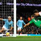 Fine lines: Arsenal goalkeeper Bernd Leno can't stop Sergio Aguero completing his hat-trick