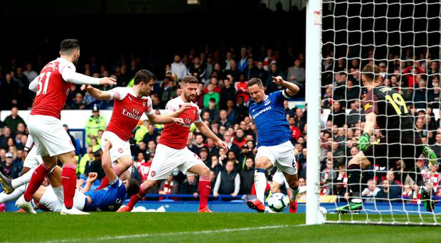 Winning touch: Phil Jagielka scores the only goal of the game