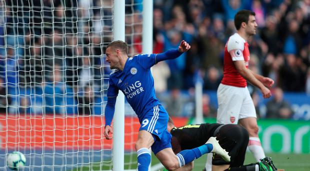 Late strike: Jamie Vardy celebrates after scoring his first goal