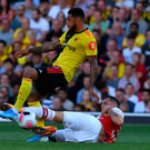 Ground force: Granit Xhaka challenges Watford's Andre Gray