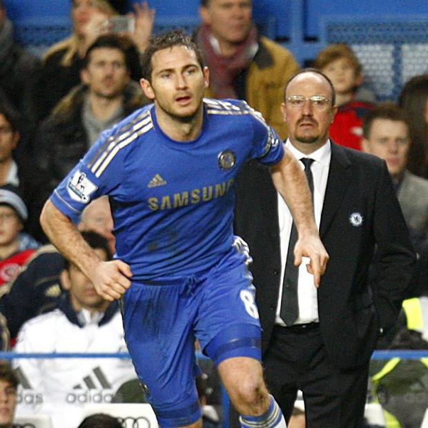 Rafael Benitez, right, was unable to shed further light on Frank Lampard's, left, future at Chelsea