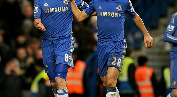 Frank Lampard, left, was on target again for Chelsea