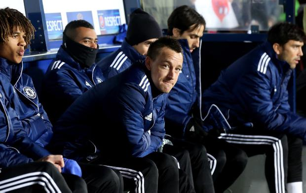 PRAGUE, CZECH REPUBLIC - FEBRUARY 14: John Terry of Chelsea sits on the bench during the UEFA Europa League match between AC Sparta Praha and Chelsea on February 14, 2013 in Prague, Czech Republic. (Photo by Scott Heavey/Getty Images)