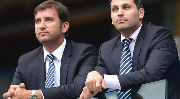 Ferran Soriano (left) with Manchester City chairman Khaldoon Al Mubarak