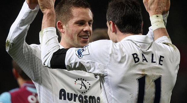 Gylfi Sigurdsson, left, believes there is plenty more to come from Gareth Bale, right