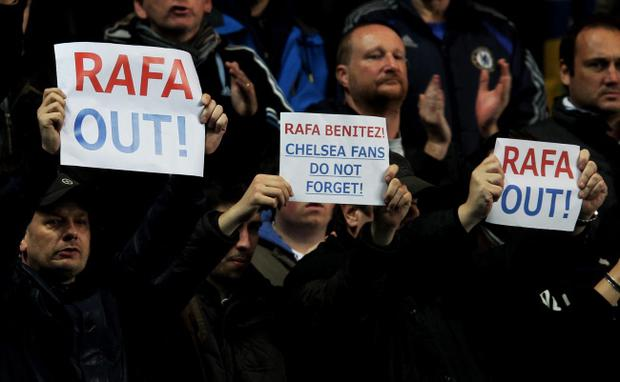 (FILE PHOTO) Chelsea FC manager Rafael Benitez has confirmed his exit at the end of the season in his post-match interview following the FA Cup match against Middlesbrough LONDON, ENGLAND - NOVEMBER 25: Fans protest over the signing of new manager Rafael Benitez during the Barclays Premier League match between Chelsea and Manchester City at Stamford Bridge on November 25, 2012 in London, England. (Photo by Clive Rose/Getty Images)