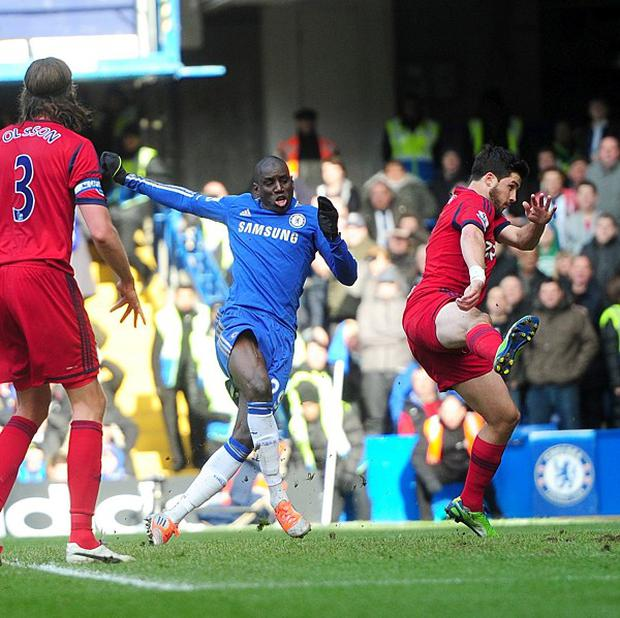 Demba Ba's, centre, first-half strike was enough for three points against West Brom