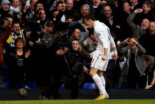 LONDON, ENGLAND - MARCH 03: Gareth Bale of Spurs celebrates after scoring the opening goal during the Barclays Premier League match between Tottenham Hotspur and Arsenal FC at White Hart Lane on March 3, 2013 in London, England. (Photo by Paul Gilham/Getty Images)