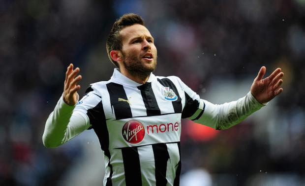 NEWCASTLE UPON TYNE, ENGLAND - MARCH 10: Newcastle player Yohan Cabaye celebrates his goal during the Barclays Premier League match between Newcastle United and Stoke City at St James' Park on March 10, 2013 in Newcastle upon Tyne, England. (Photo by Stu Forster/Getty Images)